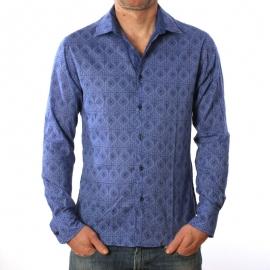 Chemise Homme Manches Longues Imprimé Bleu Nuit