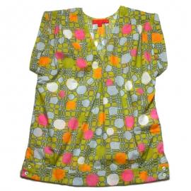 Top Femme Sans Manches coton imprimé kaki motifs roses oranges