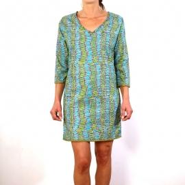 Robe Pampelune en coton imprimé feuilles bleues et vertes