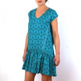 Robe Lace En Coton Imprimé Turquoise et Or