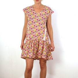 Robe Lace En Coton Imprimé Beige Fleurs Multicolores