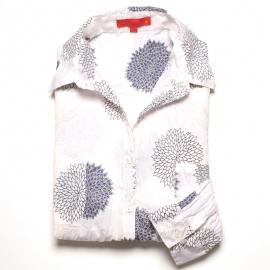 Chemise Femme Coton Imprimé Blanc Fleurs Argent et Bleu Marine