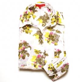 Chemise Femme Coton Imprimé Blanc Fleurs jaune kaki