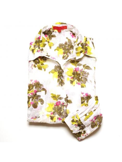 chemise femme coton imprim blanc fleurs jaune kaki. Black Bedroom Furniture Sets. Home Design Ideas