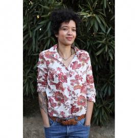 Chemise Femme Coton Imprimé Blanc à Fleurs Rouges