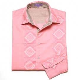Chemise Homme Manches Longues Imprimé rose motifs blancs