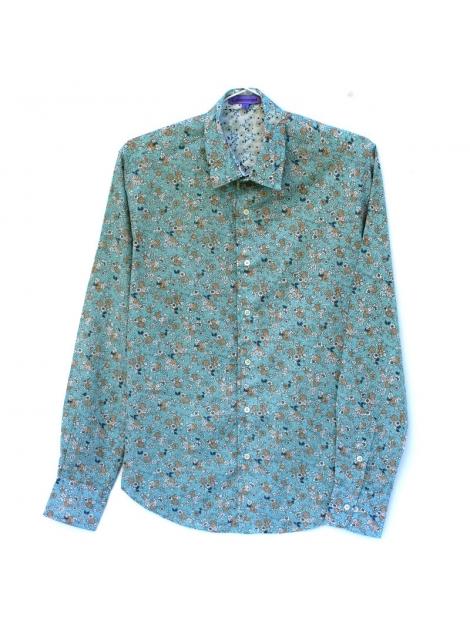 chemise homme coton manches longues coupe ajust e imprim vert et mini fleurs. Black Bedroom Furniture Sets. Home Design Ideas