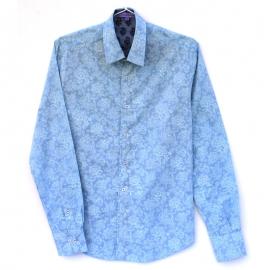 Chemise Homme Manches Longues Imprimé bleu fines fleurs blanches