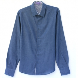 Chemise Homme Manches Longues Chambray Blue Jean