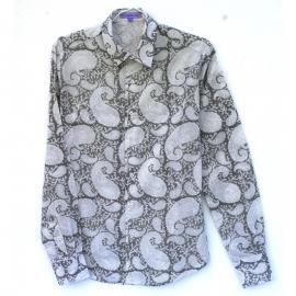 Chemise Homme Manches Longues Imprimé blanc à fleurs turquoises et bordeaux