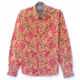 Chemise Homme Manches Longues Coton Imprimé orange fleurs roses