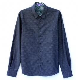 Chemise Homme Manches Longues Coton Denim Bleu Motifs