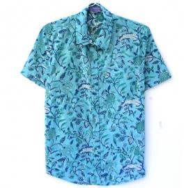 Chemise Homme Manches Courtes Bleu Lagon Imprimé à Fleurs