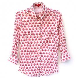 Chemise Femme Coton Imprimé Blanc à Motifs Rouges et Roses