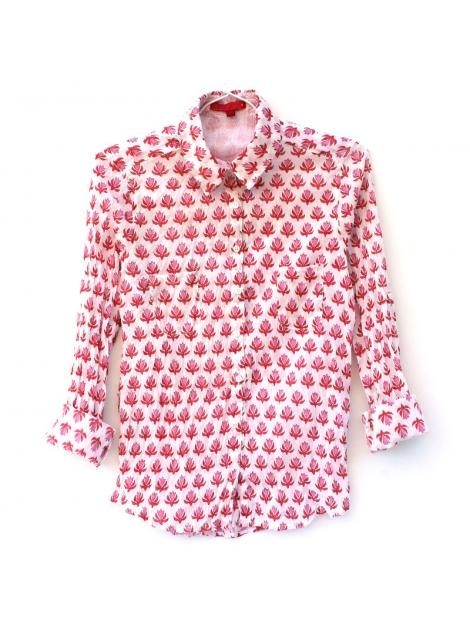 plus récent véritable sélectionner pour véritable Chemise Femme Coton Imprimé blanc à motifs roses et rouges