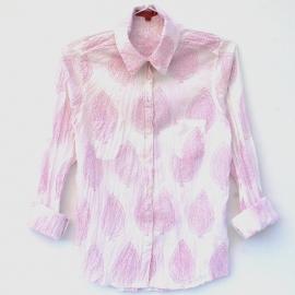 Chemise Femme Coton Imprimé Blanc à Grands Motifs Roses