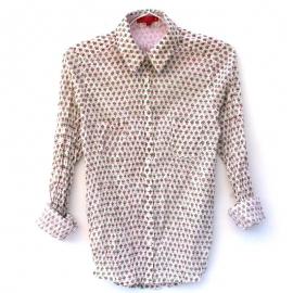 Chemise Femme Coton Imprimé Blanc à Petits Motifs Roses et Verts
