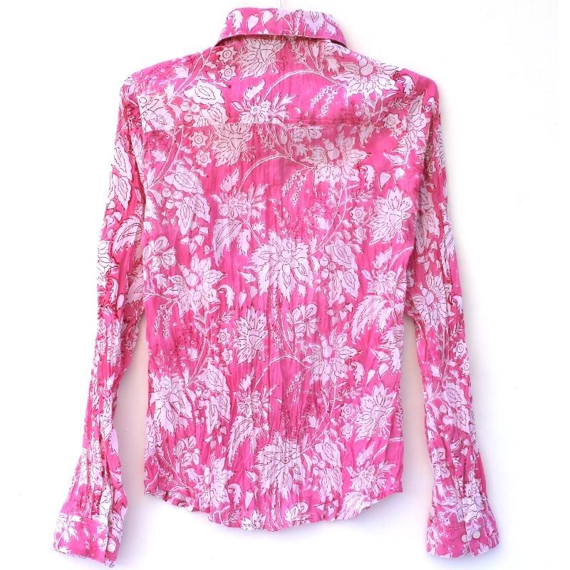 Coton Fleurs Rose Blanches Femme À Wiye2hd9 Chemise Imprimé htsQrdCx