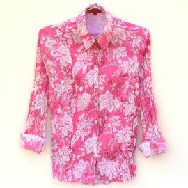Chemise Femme Coton Imprimé Rose à Fleurs Blanches