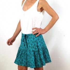 Jupe Portefeuille En Coton Turquoise Imprimé Turquoise et Or
