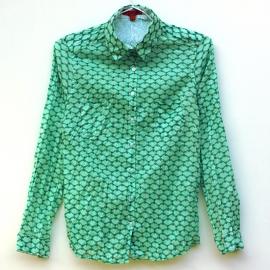 Chemise Femme Coton Imprimé Ecailles Vertes