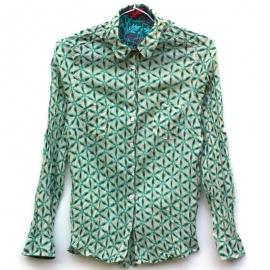 Chemise Femme Coton Imprimé Etoiles Vertes