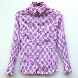 Chemise Femme Coton Imprimé Blanc Arbre Rose