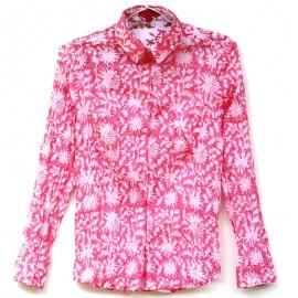 Chemise Femme Coton Imprimé Rose Fleurs Blanches