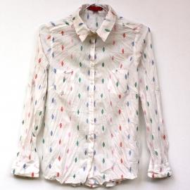 Chemise Femme Coton Blanc Petits Motifs Multicolors