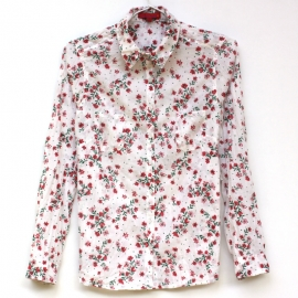 Chemise Femme Coton Imprimé Fleurs Rouges