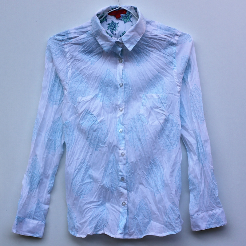 Motif Coton Femme Aqua Floral Chemise Imprimé Blanc kwX80nOP