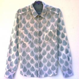 Chemise Homme Manches Longues Coton Imprimé Blanc Motif Floral Taupe