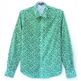 Chemise Homme Manches Longues Coupe Ajustée Coton Imprimé Sardine Verte