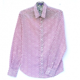 Chemise Homme Manches Longues Coupe Ajustée Coton Imprimé Petit Motif Violet