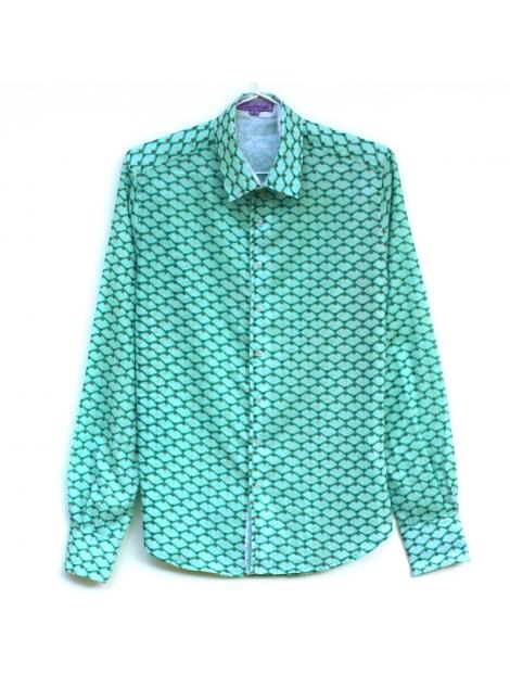 check-out acheter bien acheter maintenant Chemise homme coton manches longues coupe ajustée imprimé écailles vertes