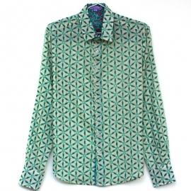 Chemise Homme Manches Longues Coupe Ajustée Coton Imprimé Etoiles Vertes