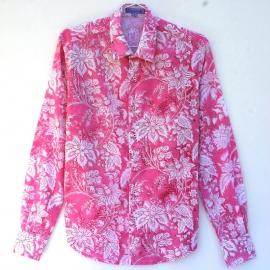 Chemise Homme Manches Longues Coupe Ajustée Coton Imprimé Rose Fleurs Blanches