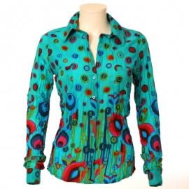 Chemise Femme Coton Imprimé Peacock Turquoise