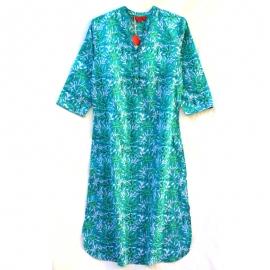 Robe chemise longue imprimé turquoise fleurs vertes