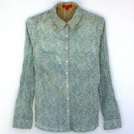 Chemise Femme Imprimé Fleurs Vert de Gris