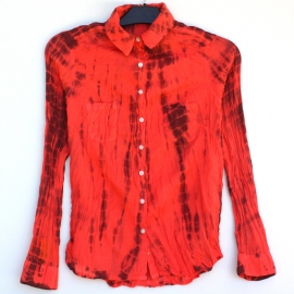 Chemise Tie And Dye Shibori Rouge