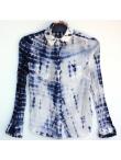 Chemise Tie and Dye Shibori Bleu Nuit et Blanc