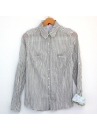 Chemise femme coton chambray rayures grises
