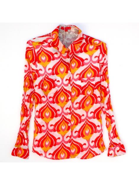 Chemise femme coton imprimé motifs 70' rouge rose ocre