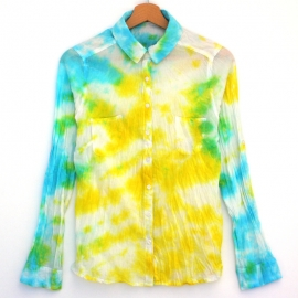 Chemise Tie and Dye Shibori Jaune Turquoise Vert