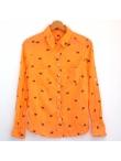 Chemise femme coton orange imprimé dinosaures