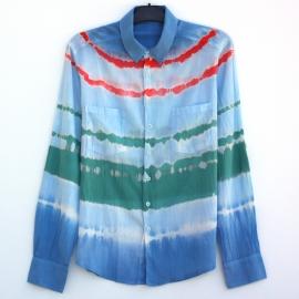 Chemise Rayures Tie and Dye Shibori Bleu Vert Rouge