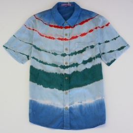 Chemise Tie and Dye Shibori Rayures Bleues Vertes Rouges