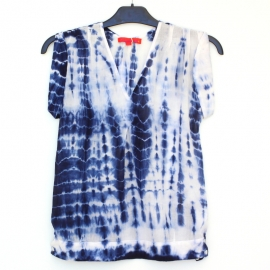 Top Femme Sans Manches Tie and Dye Shibori Bleu Nuit Blanc