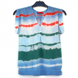 Top Femme Sans Manches Tie and Dye Shibori Rayures